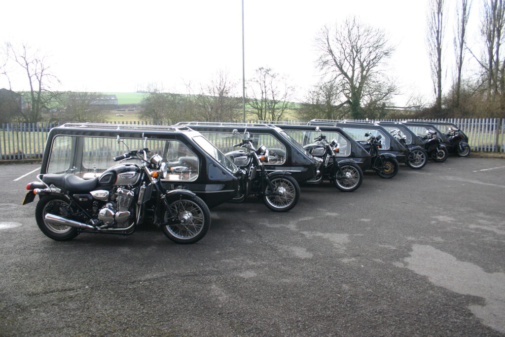 Motorcycle Hearse Fleet (different makes and models of motorcycle)