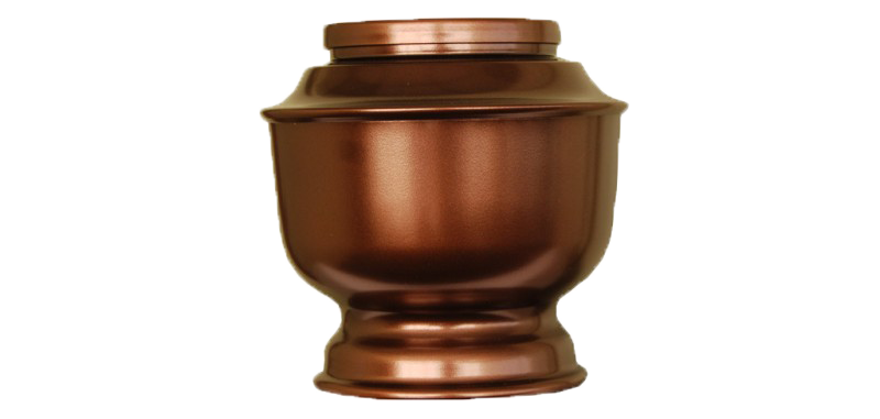 Traditional spun metal urn for cremated remains