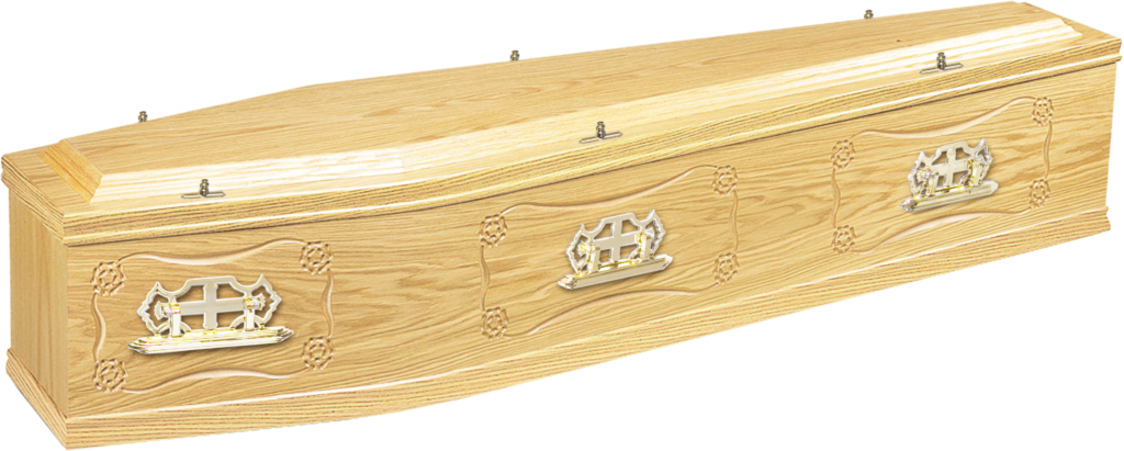 Wood veneered coffin with Tudor Rose detail