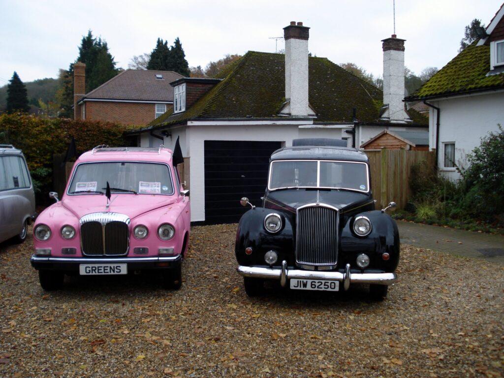 Pink Daimler Hearse & Austin Princess Hearse