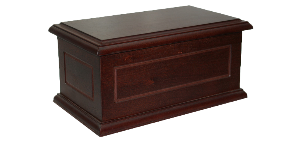 Veneered cremated remains casket
