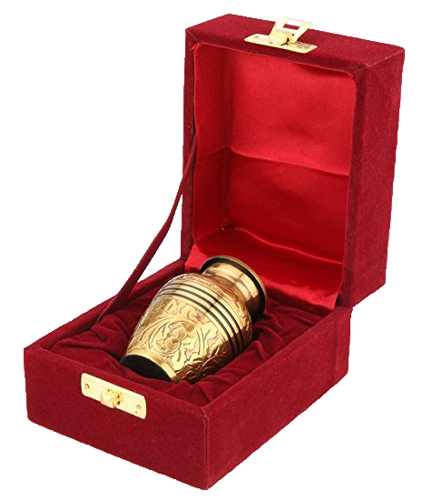 Small brass urn designed to hold a small portion of cremated remains