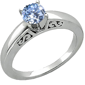 A platinum ring set with a created blue diamond