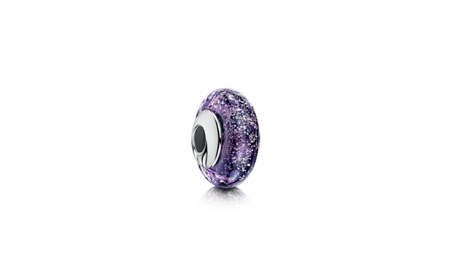 Silver charm bead designed to fit popular charm bracelets, made with purple glass and incorporating cremated remains