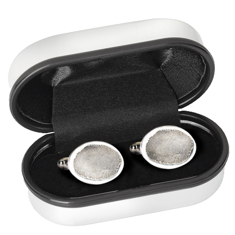 Silver cufflinks engraved with the fingerprint of your loved one.
